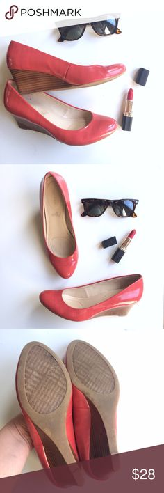 Coral Round Toe Wedges Beautiful, flirty coral wedge heels with a rounded toe, perfect for outdoor weddings or other and-formal occasions. A bright, fun pop of color in your shoe collection! Heel: 2.5in. Gently worn, good condition. Calvin Klein Shoes Wedges