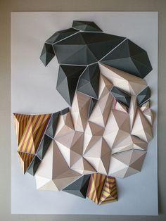 "So, I want to make something that feel Japanese soul. This is start of this Origami Mosaics. ""UKIYOE"" is Japanese traditional art. One of greatest UKIYOE drawer,Toshusai-sharaku's work ""Otani-Oniji"" This Origami Mosaics is refer to that. Origami Shapes, Geometric Origami, Origami And Kirigami, Origami Paper Art, Origami Design, Geometric Shapes, Paper Crafts, Oragami, Paper Wall Art"