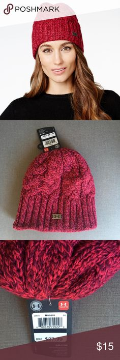 Under Armour Around Town Women's Beanie Knit Hat You will receive the exact item as pictured. First picture is a stock photo. Brand new, Tags Attached.  Under Armour Around Town Women's Beanie Knit Hat    Color: Knock Out/Maroon Pewter  Designed to absorb heat and keep your head warm Under Armour Accessories Hats