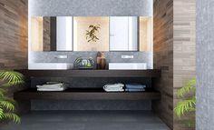 Zwevend badkamer meubel met donker hout