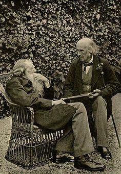 Sir John Everett Millais: John Ruskin and Sir Henry Acland, August 1, 1893 by Miss Acland. Photograph taken on the grounds of Brantwood, Ruskin's home on Lake Coniston.