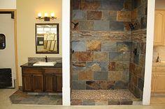 Rustic Slate and Glass Shower Bathroom Pinterest Slate Glass