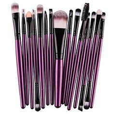 Voberry 15 Pcs Pro Makeup Set Powder Foundation Eyeshadow Eyeliner Lip Cosmetic Brushes Purple >>> Click image for more details.