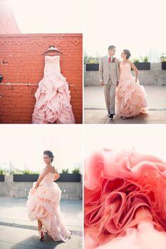 pink wedding dress by vera wang