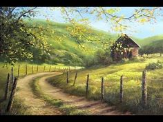 Landscape paintings oil bob ross ideas for 2019 Kevin Hill Paintings, Farm Paintings, Bob Ross Paintings, Country Paintings, Indian Paintings, Oil Painting Lessons, Painting Videos, Painting Techniques, Painting Tutorials