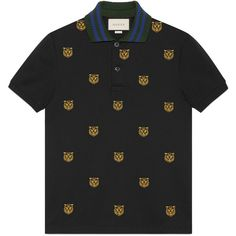Gucci Cotton Polo With Tiger Head Embroidery ($670) ❤ liked on Polyvore featuring men's fashion, men's clothing, men's shirts, men's polos, black, mens cotton shirts, mens polo button down shirts, mens embroidered shirts, mens button down collar shirts and mens polo shirts