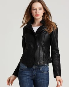 Andrew Marc Waxed Lamb Leather Asymmetrical Jacket | Bloomingdale's
