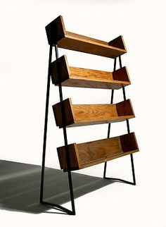 (Gorgeous!) Vintage 40s 50s Mid Century Wood Metal Bookshelf Store Fixture Industrial | eBay, via Zuburbia