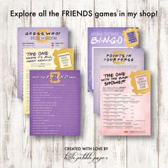 FRIENDS TV Show Points in Your Purse Friends TV Show Shower | Etsy Bride Shower Games, Bridal Shower Bingo, Bridal Shower Invitations, Baby Shower Games, Friends Trivia, Friends Tv Show, Birthday Party Images, Wedding Trivia, Purse Game