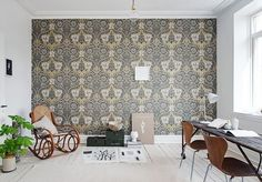 Great use of wallpaper Scandinavian Interior Design, Scandinavian Home, Beautiful Space, Beautiful Homes, Other Rooms, Of Wallpaper, Decorating Blogs, Interior Design Inspiration, Apartment Living