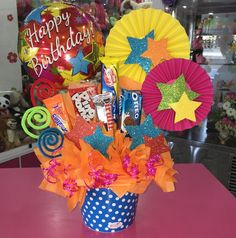 Baby is definitely 1 at this moment in addition to you're ready to party ! :) To get parents, the initial year Birthday Candy, Birthday Gifts, Birthday Parties, Candy Bouquet, Balloon Bouquet, Ballon Arrangement, Chocolate Bouquet, Neon Party, Candy Gifts