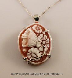 Flower Cameo Necklace Bimonte Cameos Coral Sorrento