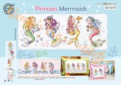 Princess Mermaids -counted cross stitch chart or kit sodastitch X Stitches Size(s): 14 Count, X cm Chart. - Contains color chart with symbols and Floss conversions for DMC, ANC and Yeidam. * Floss Color 20 * Brant New Kit Contains - Cross Stitch Books, Cross Stitch Charts, Cross Stitch Designs, Cross Stitch Patterns, Mermaid Cross Stitch, Mermaid Princess, Chart Design, Le Point, Pattern Books