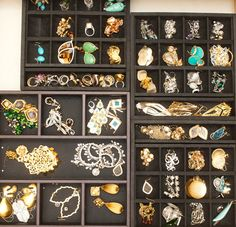 Earrings and rings! Jewelry storage in the closet of Adrienne Maloof | Photo by The Coveteur