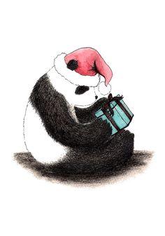 Christmas Panda Art Print by Karen Vaughan   Society6