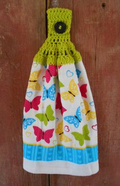 Spring Butterflies Double Hanging Crocheted Top Kitchen Dish Towel