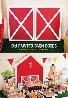 Farm Party Tutorial: DIY Painted Barn Doors I made these DIY Painted Barn Doors for a Farm First Birthday Party project last year, and as far as easy-yet-high-impact projects go, this one has Farm Animal Party, Farm Animal Birthday, Farm Birthday, Boy Birthday Parties, Birthday Ideas, Cowboy Birthday, Third Birthday, Farm Themed Party, Barnyard Party