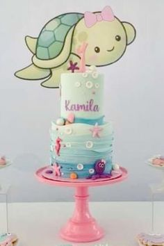 Loving the birthday cake at this adorable under the sea birthday party! See more party ideas and share yours at CatchMyParty.com