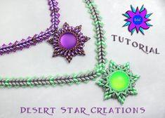 Beadweaving Necklace Star Pendant Pattern, Lunasoft Cab Super Duo Necklace, Two Hole Herringbone Tutorial Laura Graham, Beading Tutorial PDF