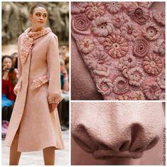 """Купить Пальто """"Розовый жемчуг"""" - кремовый, однотонный, розовый, пудровый, пальто женское, пальто валяное"""