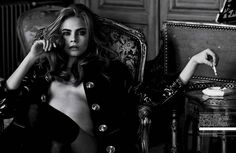Peter Lindberg shot model Cara DeLevingne for Interview magazine, from the UK blog, Style Noir