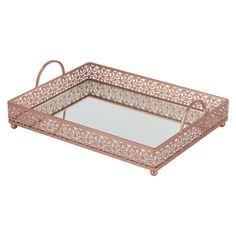 Decorative Mirror Tray Fascinating Giovanni Vintage Silver Mirror Serving Tray Rectangular Metal Design Decoration