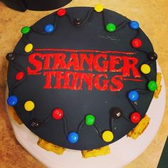 Just thought I'd share this lovely #strangerthings cake that was baked for me. And it's chocolate my fave.