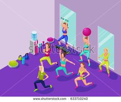 Isometric fitness illustration with group of girls and trainer at sports center  doing workout with dumbells, platforms, fit ball