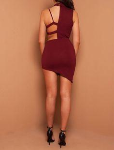 Sexy Irregular Choker Cut Out Mini Dress Women's Fashion Dresses, Sexy Dresses, Nice Dresses, Beautiful Dresses, Prom Dresses, Prom Dress Shopping, Online Dress Shopping, Casual Chic Style, Dress Size Chart Women