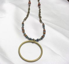 NECKLACE EarthTone Colors with Chain BRASS RING Pendant