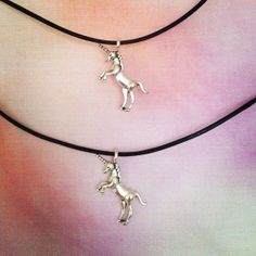 Silver Unicorn Choker Leather Cord Jewellery Necklace Charm Fashion 90s Grunge.