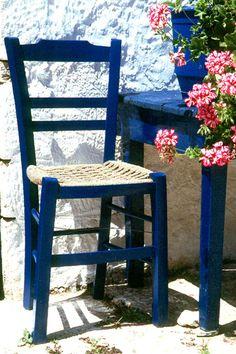 Greek blue, a photo from Iraklion, Crete Crete Island, Greece Islands, Greek Garden, Greek Blue, Outdoor Chairs, Outdoor Decor, Santorini Greece, Mediterranean Style, Mediterranean Houses