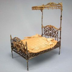 Antique German Doll House Miniature Soft Metal Half Tester Bed with from curleycreekantiques on Ruby Lane