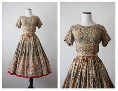 negli anni cinquanta jaipur vestito / india stampa vestito abito anni 50