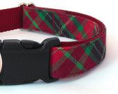 Plaid Christmas Dog Collar in a Red & Green Cotton, Tartan Dog Collar for the Holidays
