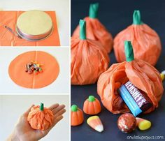 """Cute pumpkins for party favors!!! This is great for those """"harvest parties"""" schools have now instead of celebrating Halloween."""