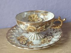 vintage teapots and teacups | antique yellow rose tea cup and saucer set | Teacups and Teapots