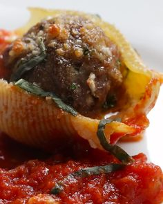Meatball Stuffed Shell Pasta Recipe by Tasty - not that this is totally low-carb and healthy, but it's a way to eat pasta that is actually mostly meat