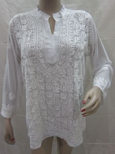 Embroidered Indian Tunic Yoga Wear White Kurta