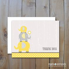 Elephant Baby Thank you Cards / Instant Download /Yellow and Grey Shabby Chic Elephants/ DIY Printable Item 42812