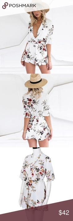 ⚡️Sale! Weekend only! Floral ruffle sleeve romper Floral ruffle playsuit romper. Material: Polyester. Dresses Mini