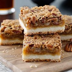 Butter Tart Squares | A simpler take on the classic Canadian butter tart. These squares feature a sweet and gooey filling that is complimented perfectly by a crisp shortbre