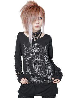 CDJapan : TURN TO THE TUSK Shirring Long Sleeve Cutsew (S) SA84858-10114 SEX POT ReVeNGE APPAREL. See more at: http://www.cdjapan.co.jp/apparel/ #punk #jrock #mensfashion