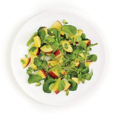 Light and refreshing this Watercress and Peaches Salad Recipe is perfect for hotter weather.  #vegetables #fruit #protein #myplate