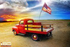 American Flag & Antique Truck Desktop Background. Click to Download.