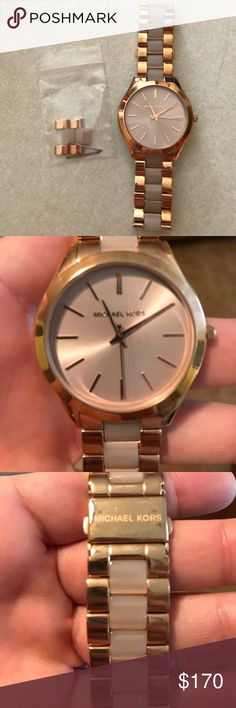Michael Kors Women's Watch MK Woman's Watch! Worn a few times! Comes with the extra link! NO BOX! Perfect condition! Just never wear it anymore! Rose gold with light pink links! Michael Kors Accessories Watches