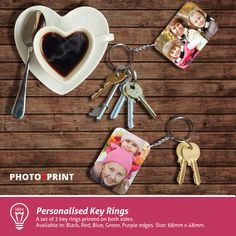 Product idea: Create your own personalised key rings and take your loved ones with you wherever you go. Personalised Keyrings, Personalized Items, Key Rings, Are You The One, Create Your Own, Purple, Red, Prints, Key Fobs