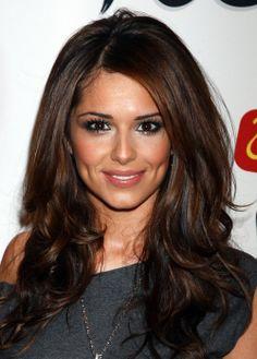 Cheryl Cole's hair! Dark brown with auburn highlights