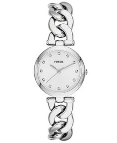 Fossil Watch, Women's Olive Stainless Steel Link Bracelet 28mm ES3390 - Fossil - Jewelry & Watches - Macy's