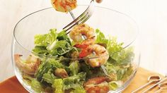 Simple, fresh, healthy--this quick salad is a real winner. Quick-grill fresh shrimp, then toss together with ready-made salad mix. Add a shimmer of Parmesan for extra (and authentic) Caeser flavor.